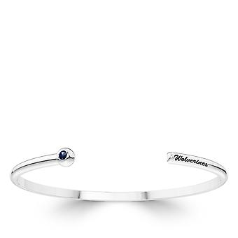 University of Michigan graviert Sterling Silber Saphir Manschette Armband