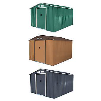 Charles Bentley Metal Garden Shed Outdoor Storage Zinc Frame - Weatherproof in Brown / Green - 8X10Ft