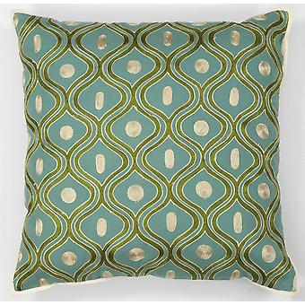 Elegant Square Teal and Gold Accent Pillow