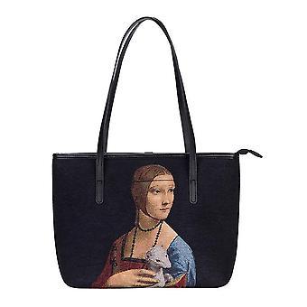 Da Vinci-Lady kanssa Kärppä olkapää raahata laukku on signare kuva kudos/Coll-Art-LDV-Kärppä