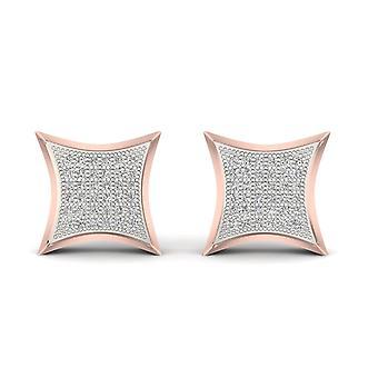 Boucles d'oreilles Igi certifiés 10k or rose 0,25 ct brillants boucles d'oreilles de goujon de grappe de diamant