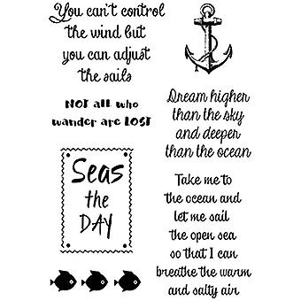 Woodware Polymer Stamp Nautical Sayings Set of 7 | 10.5cm x 17.5cm