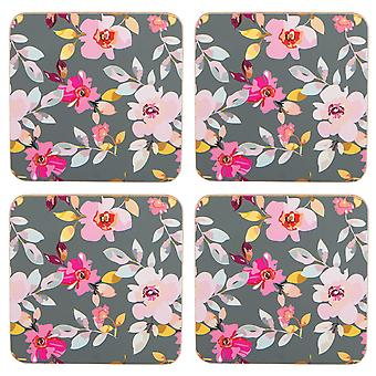 Navigate Gardenia Set of 4 Coasters, Grey Floral