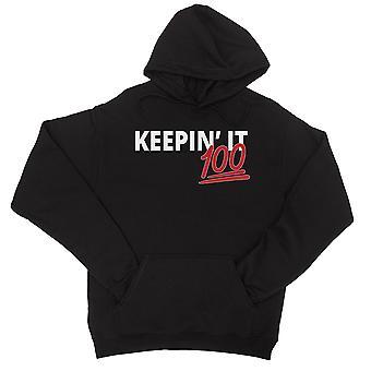 365 Printing Keepin' It 100 Womens Black Hoodie Funny Saying Hoodie X-Mas Gift
