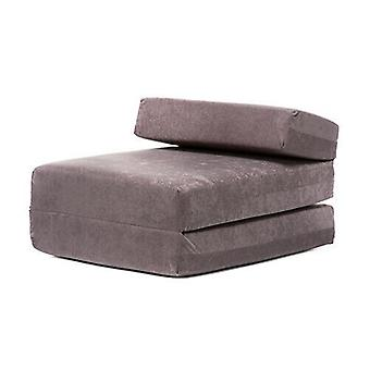 Grey Suede Fold Out Single Guest Z Bed Chair Folding Mattress Sofa Bed Futon