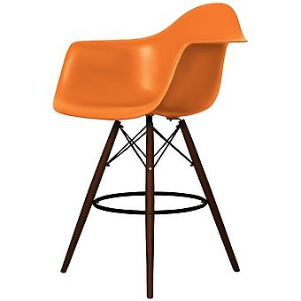 Charles Eames Stil Orange Kunststoff Bar Hocker mit Armen - Walnuss Beine