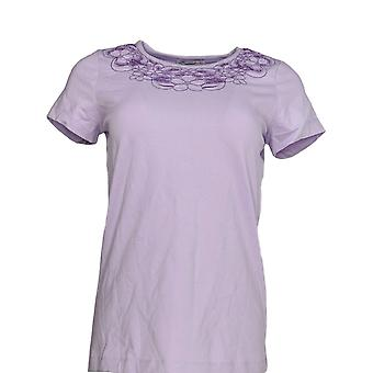 Isaac Mizrahi Live! Frauen's Top XXS Floral Cut-Out T-shirt lila A220520