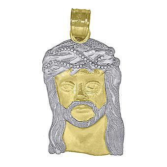 10k Oro Due Tono Textured Uomo Gesù Altezza 30.9mm X Larghezza 14.9mm Fascino Religioso Ciondolo Collana Regali gioielli per me