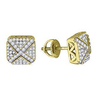 925 Sterling ezüst férfi sárga hang CZ cubic cirkónia szimulált gyémánt tér kerek élek stud fülbevaló ékszer G