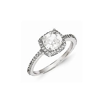 Cheryl M 925 Sterling Silver CZ Cubic Zirconia Simulated Diamond Square Ring Jewelry Gifts for Women - Ring Size: 7 to 8