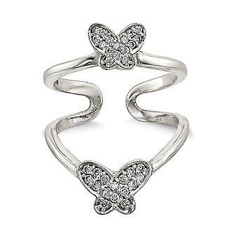 925 Sterling Silver Rhodium polerad CZ Cubic Zirconia Simulerad Diamond Double Butterfly Angel Wings Justerbar Cuff Ri