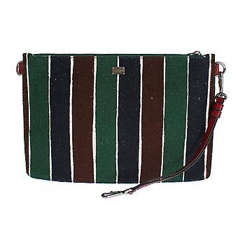 دولتشي وغابانا متعدد الألوان مخطط الكتان الجلود منظم حقيبة اليد