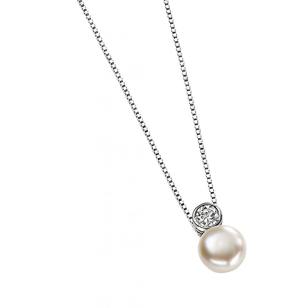 Joshua James Allure Silver Cz & Pearl Necklace