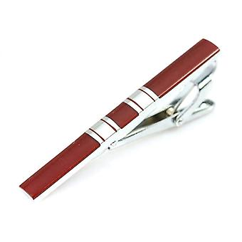 银色和红色条纹男士[apos;s 不锈钢领带夹条