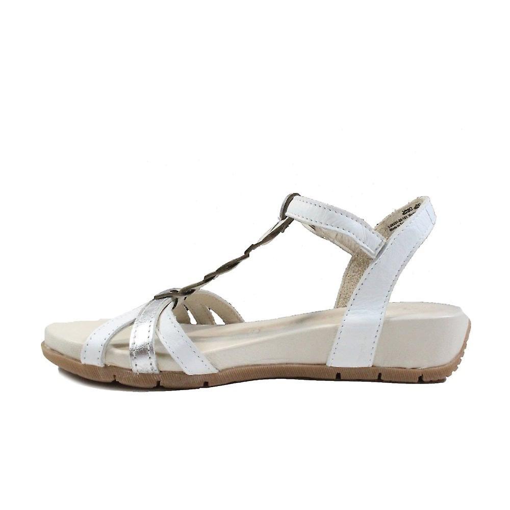 Tamaris 28251 White Leather Womens T Bar Sandals