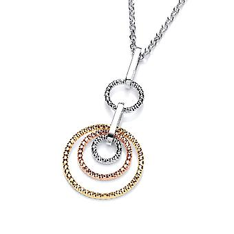 David Deyong Sterling Silver Tricolour Diamond Cut Rings Double Drop Necklace
