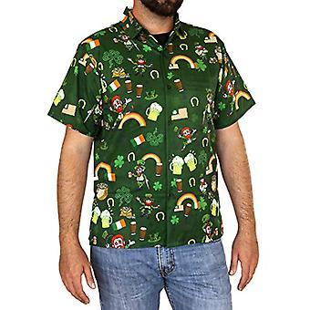 Funny Guy Mugs Men's Irish St. Patrick's Day Hawaiian Print Button Down Short...