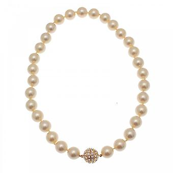 Nour London Magnetic Clasp Diamante Pearl Necklace