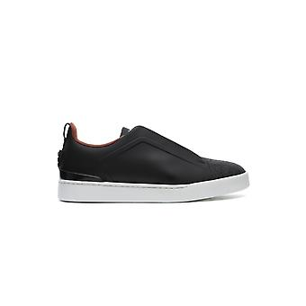 Z Zegna Lhgfla2511xgrn Men's Grey Leather Slip On Sneakers