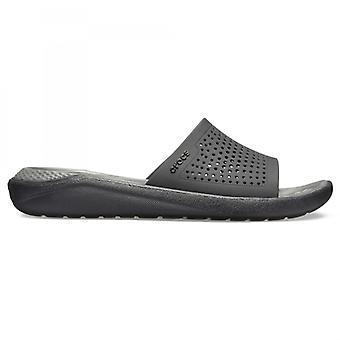Crocs 205183 لترايد الشرائح رجال الصنادل الشريحة الأسود / لائحة رمادي