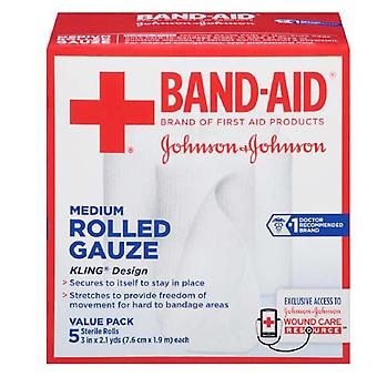 Band-aid first aid covers kling rolled gauze, medium, 5 ea