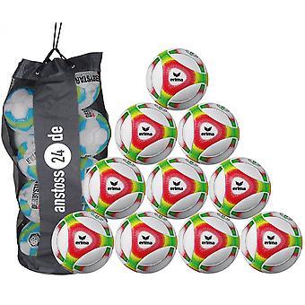 10 x erima ungdom bollen Futsal hybrid JNR 350 (2019) innehåller bollen säck