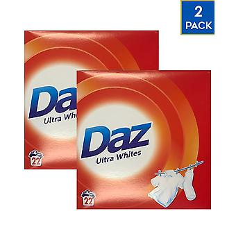 2 x Daz Ultra Whites Washing Powder 22 Washes Stain Remover Whitener Cleaning