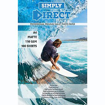 100 x Simply Direct A4 Matte Inkjet Photo FSC Printing Paper - 110gsm - Professional Premium Photographic Printer Paper