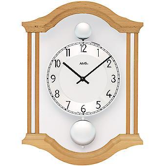 AMS 7447/18 wall clock kvartsi analoginen swing kaksinkertainen heiluri puinen beech kiinteä lasi