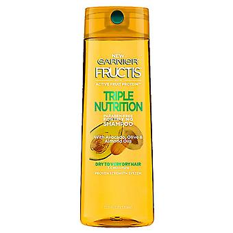 Garnier fructis triple champú nutrición, seco para pelo muy seco, 12,5 oz