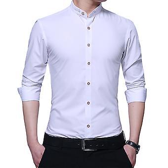 Allthemen Solid Slim Fit tunn stativ krage Business skjortor