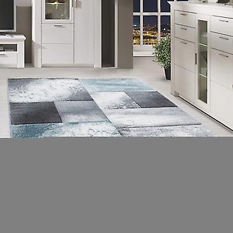 Short flor design rug rectangle plaid modèle de salon tapis blanc mottled