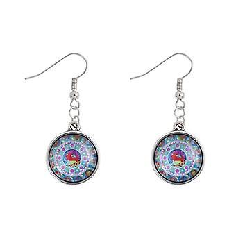Mandala Amulet Multi-Colour Glass Drop Earrings