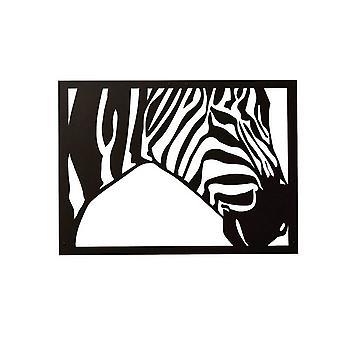 Decorazione Da Parete Zebra Color Nero in Acciaio 48x0,15x35 cm