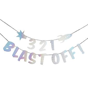 321 Blast Off Banner - Space Party Bunting 2m