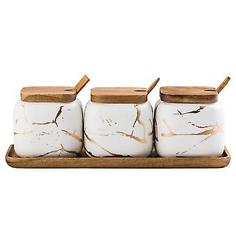 3x Spice Jars with Tray - White