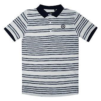 Boy's Henri Lloyd Junior Engineered Slub Stripe Polo Shirt in Blauw