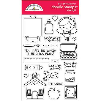 Doodlebug Clear Doodle Stamps-School Girl, School Days