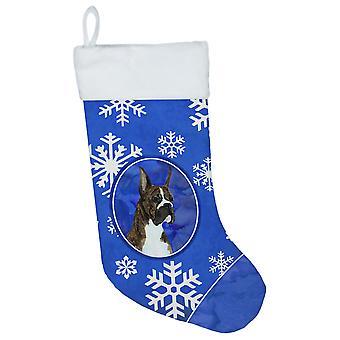 Carolines Treasures  SS4646-CS Boxer Winter Snowflakes Christmas Stocking SS4646