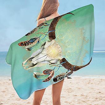 Green Blue Bull Skull Microfiber Beach Towel