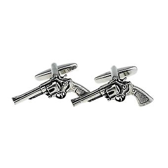 Revolver Cufflinks - Gift Boxed - English Pewter - Pistol 6-Gun Cowboy Cuff Link