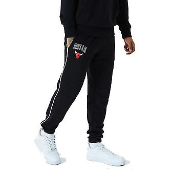 New Era Chicago Bulls NBA Stripe Piping Track Trousers in Black