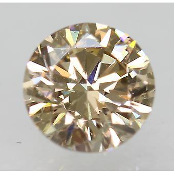 Cert 0.71 Carat Fancy Brown VVS2 Round Brilliant Natural Diamond 5.52mm 3VG