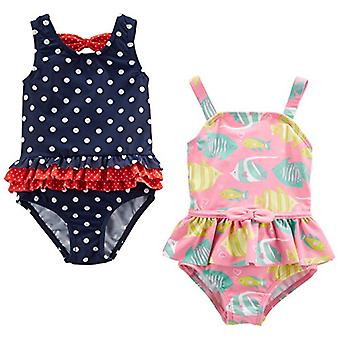 Simple Joys by Carter's Baby Girls' Toddler 2-Pack One-Piece Swimsuits, Navy ...