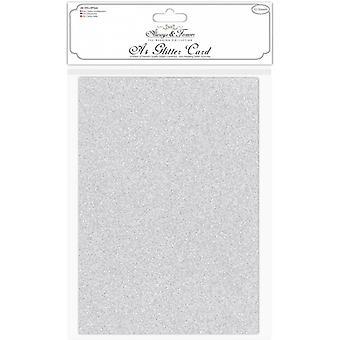 Craft Consortium A4 Glitter Silver Card