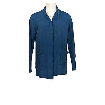 LOGO door Lori Goldstein Women's Sweater Open-Front Cardigan Blue A302470