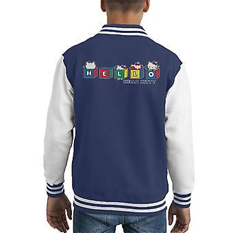 Hello Kitty Multicoloured Cubes Peekaboo Kid's Varsity Jacket