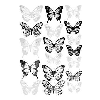 Borboletas decorativas 18x 3D - Preto e Branco