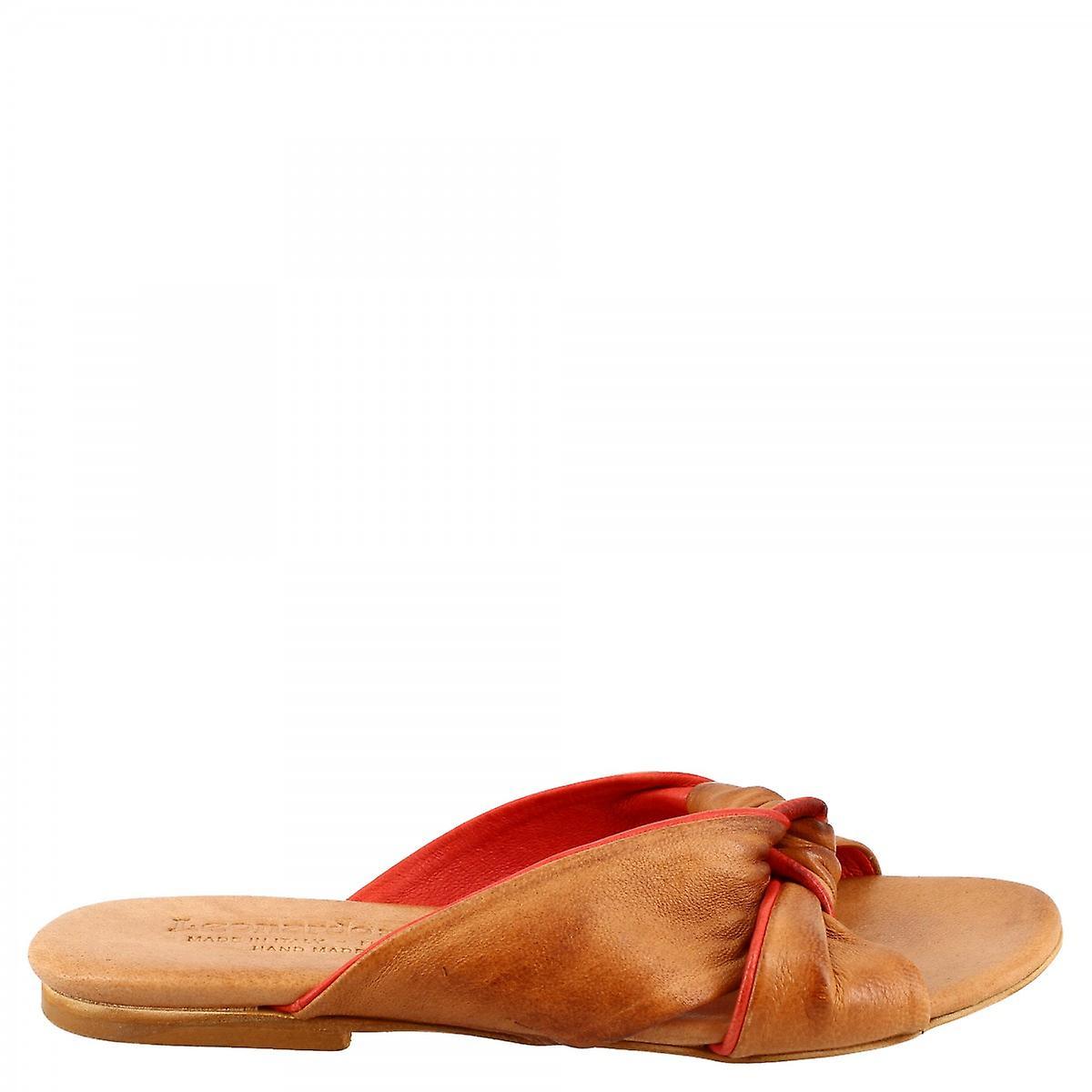 Leonardo Shoes Women's handmade flat slipper sandals in tan red goat and calf leather