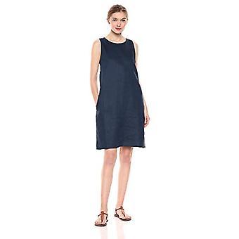 28 Palms Women's 100% Linen Sleeveless Shift Dress, Navy, X-Large